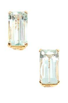 18K Yellow Gold Elongated Aquamarine Stud Earrings
