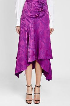 PETER PILOTTO - Satin Jacquard Wrap Skirt | STYLEBOP Peter Pilotto, Purple Fashion, Purple Style, Kimono, Satin, Skirts, Shopping, Dresses, Women