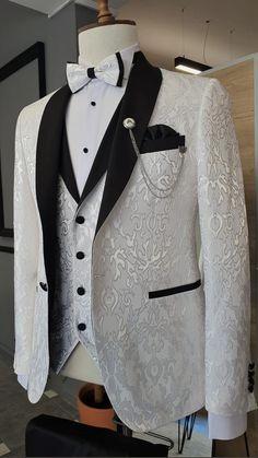 Tuxedo Wedding Suit, White Wedding Suit, Wedding Suits, Wedding Tuxedos, Groomsmen Suits, Groom Attire, Dress Suits For Men, Mens Suits, Suit Fashion