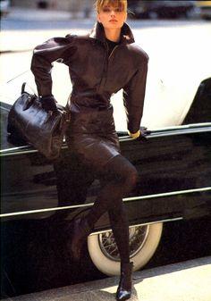 Paulina Porizkova wearing Azzedine Alaia in Vogue US August 1985 (photography: Arthur Elgort)