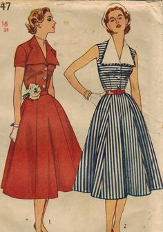 1950s Simplicity 3847 UNCUT Vintage Sewing Pattern Misses Dress with Detachable Collar Size 16 Bust 34