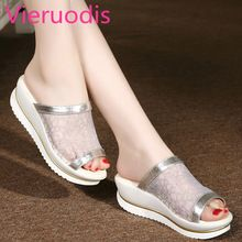 DreamShining Summer Mesh Slope With Thick Crust Muffin Fish Head Word Drag Sandals Waterproof Sandals And Slippers Shoe Boots, Shoes Sandals, Heels, Trendy Sandals, Biker Boots, Fashion Socks, Girls Shoes, Casual Shoes, Slippers
