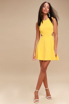2ab451e5895 Toast to You Yellow Cutout Skater Dress