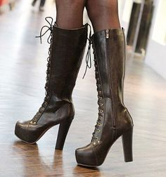 wholesale Wholesale Knee boots for women fashion sexy thick heel square toe shoes  black