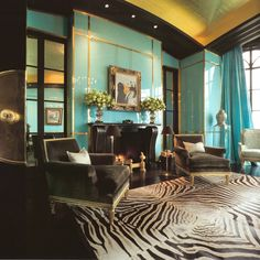 Lacquered walls and a touch of wild, by interior designer Brian McCarthy