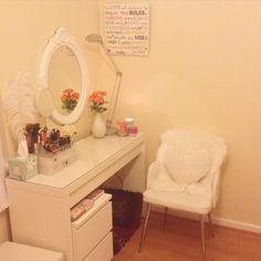 My current desk/vanity  Loving my ikea malm desk