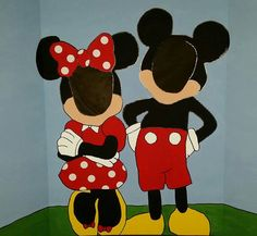Mickey & Minnie Mouse Hand Drawn and Painted by PartyRockinEvents