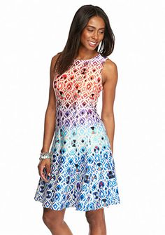 Julian Taylor Printed Scuba Fit-and-Flare Dress