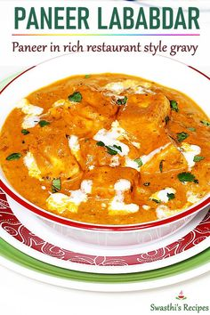 Paneer lababdar is a rich, creamy and delicious North Indian curry made with paneer, cashews, cream, onions and tomatoes. Quick Dinner Recipes, Veg Recipes, Curry Recipes, Vegetarian Recipes, Cooking Recipes, Healthy Recipes, Vegetarian Options, Cooking Tips, Recipies