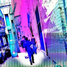 A stroll down technicolor boulevard by John Mallon Iphoneography, via Flickr | abstract + montage + street scene  people + pink blue turquoise + iphoneography