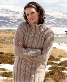 Hand Knit Tunic Long Sweater Pretty Warm and Cosy With Cables merino y   tvkstyle - Clothing on ArtFire