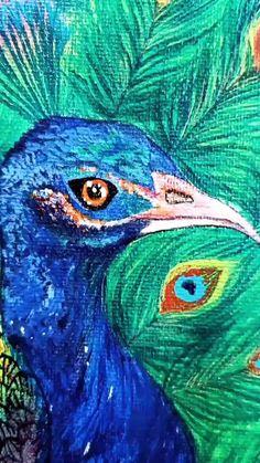 Peacock Painting, Peacock Art, Fabric Painting, Small Canvas Art, Canvas Wall Art, Acrilic Paintings, Canvas Paintings, Art Auction, Auction Ideas