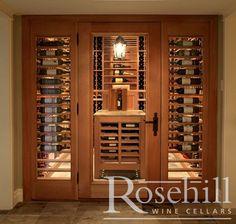 Custom Wine Cellar Door and Side Lights, elegant classic look #rosehillwinecellars #winestorage #winecellar