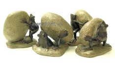Set of Four Busy Rock Moving Frogs