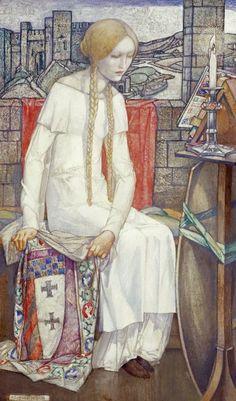 Edward Reginald FRAMPTON Elaine, 1921 - Elaine, the lily maid of Astolat, guarding the shield of Lancelot.