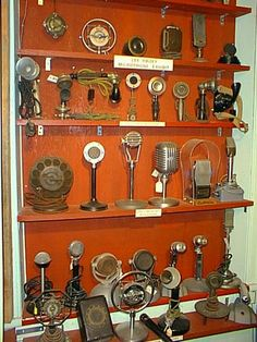 Antique microphone collection. Antique Wireless Association Electronic Communications Museum, Bloomfield, NY