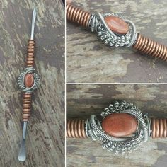 Wire wrapped dabber wax carver Goldstone by WasabiWraps on Etsy