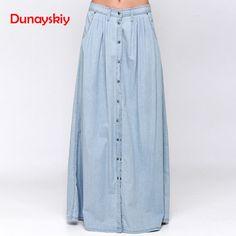 15caaf1bb21b2  Women  Clothes Saias Blue Plus Size 3XL Casual A-Line  Long Skirt