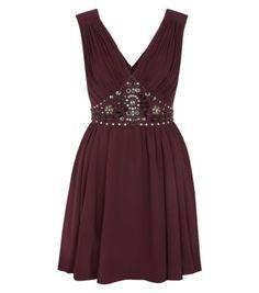 Burgundy Embellished Waist V Neck Prom Dress
