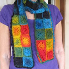 crochet rainbow squares scarf   |||   I want to make this.