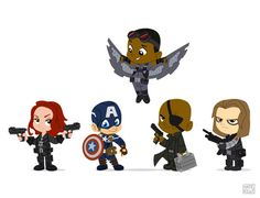 Wittle Winter Soldier Line Up Art Print  Avengers, black widow, captain America, winter soldier, Nick fury, falcon