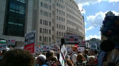 Outside #bbc shame on you ,London protest today #Gaza pic.twitter.com/Tu7XOV9UDN