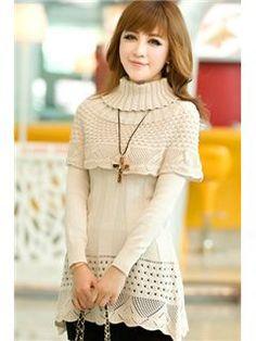 $ 19.59 Spring Pure Color Mercerizing Falbala Long Sleeved Long Sweater (with shawl collar)
