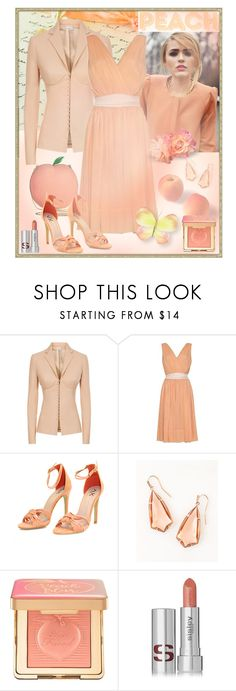 """Monochrome: Peach"" by giovanina-001 ❤ liked on Polyvore featuring La Perla, Kendra Scott, Bebe, Too Faced Cosmetics and Sisley"