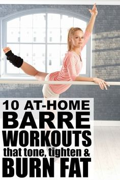 Barre exercises include postures from ballet yoga and pilates and while the moves are slight the benefits and results (lean toned muscles) can be pretty impressive. Perfect for beginners these at home barre workout videos and routines require very l Barre Workout Video, Barre Exercises At Home, Workout Videos, At Home Workouts, Barre Workouts, Dancer Body Workouts, Ballet Barre Workout, Barre Moves, Home Barre Workout