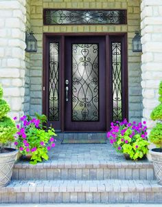 68 ideas for double stones made of ideas for iron front door double bricks iron front doors types of wrought iron doors for your real estatewrought iron garden ideas for Iron Front Door, Black Front Doors, Double Front Doors, Front Door Entrance, Glass Front Door, Exterior Doors With Sidelights, Exterior Doors With Glass, Stone Exterior, Exterior Design