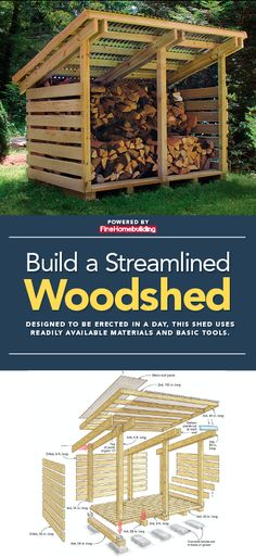 his simple woodshed can be built in a weekend, and sized up or down as needed. A detailed drawing and materials list shows the type and dimensions of lumber and hardware needed for construction. Firewood Shed, Firewood Storage, Building A Wood Shed, Building A House, Backyard Pavilion, Backyard Patio, Small Sheds, Small Wood Shed, Wood Shed Plans