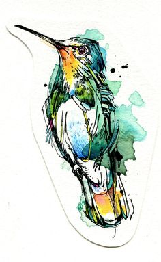 Emerald Hummer: India ink, Tombow marker, watercolor paint. #watercolor #illustration #hummingbird