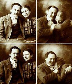 Una pareja victoriana tratando de no reír mientras son retratados, 1890