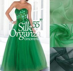 Solid green organza Silk by fabricAsians on Etsy Organza Dress, Silk Organza, Silk Crepe, Silk Chiffon, Silk Fabric, Bridal Fabric, Organza Bridal, Tropical Fabric, Trumpet Dress