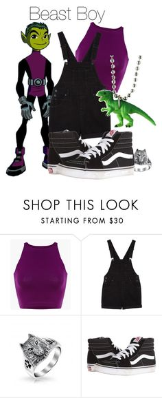 """Beast boy"" by sofi-0 ❤ liked on Polyvore featuring Monki, Vans and Dinosaurs"