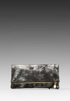 Clare Vivier Foldover Clutch in Black/Anthracite