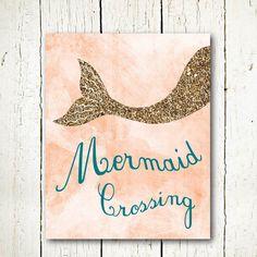 mermaid printable mermaid poster glitter wall by SunnyRainFactory