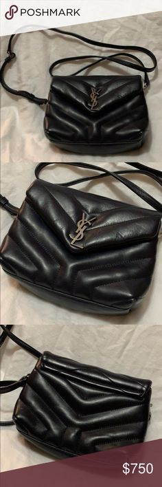 249829d6111939 Saint Laurent LouLou Toy Navy Blue Leather Bag Matelasse Y leather. Silver  YSL accent.