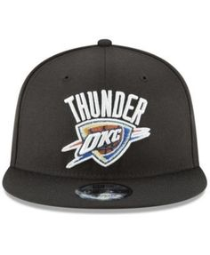 New Era Oklahoma City Thunder Team Metallic 9FIFTY Snapback Cap - Black Adjustable