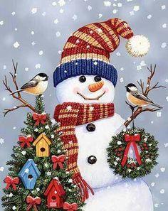 """Snowman and Chickadees"" by William Vanderdasson"