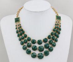 Green Statement Necklace, Bib Necklace, Fashion Statement Jewelry Necklace