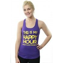 Her Suppz Happy Hour Tank. Available in Purple with yellow lettering, Pacific Blue with purple lettering, and Light pink with dark pink lettering. Cute fitness wear. Only $19.99