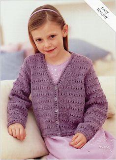 Girls Knitting pattern Girls Cardigan Childs Cardigan Easy Knit V neck Cardigan 22-32inch DK Childrens Knitting Pattern PDF Instant Download by Minihobo on Etsy