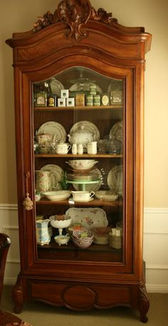 ❥ love this cabinet~ but I would paint it white, maybe distressed. beautiful work