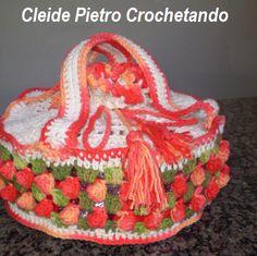 Cleide Pietro Crochetando: Porta prato de crochê em Barbante