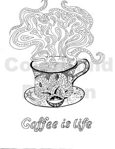 Coffee Coloring Page Pages Java Steam Hot Mug Cup Fancy Table Star Paisley Design Drawing