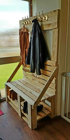 homemade coat rack with shoe storage and bench all from pallets