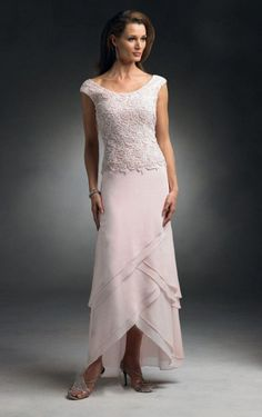 Cheap mother of bride, Buy Quality mother of bride dress directly from China mother of the bride Suppliers: New Mother's Dress Ivory Lace And Chiffon Tiered Mother of the Bride Dresses Cap Sleeves Hi-Lo Vestidos De Festa Mother Of The Bride Jackets, Mother Of Groom Dresses, Mothers Dresses, Groom Wedding Dress, Beach Wedding Attire, Wedding Dresses, Bride Dresses, Looks Country, Cap Dress
