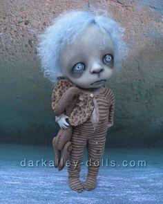 Little Girl with a teddy Elephant Gothic Artist Doll. BJD. Clover by Dark Alley Dolls.