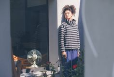 Cotton and rayon fleece oversize sweater in gray and black, kimono cut sleeves